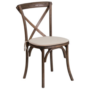 Wholesale HERCULES Series Stackable Early American Wood Cross Back Chair with Cushion