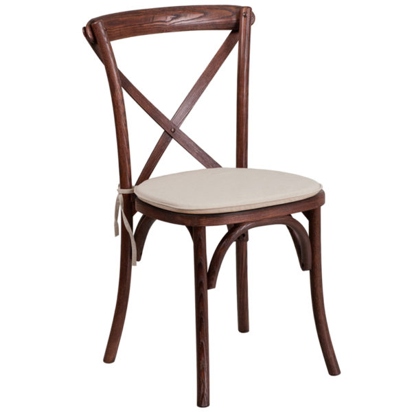 Wholesale HERCULES Series Stackable Mahogany Wood Cross Back Chair with Cushion