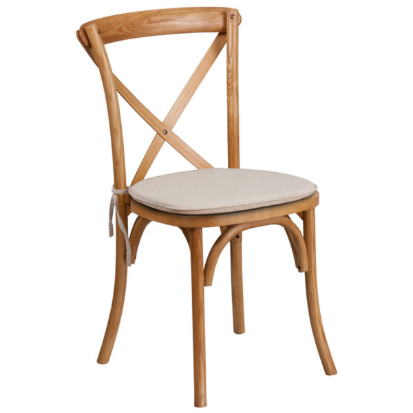 Wholesale HERCULES Series Stackable Oak Wood Cross Back Chair with Cushion