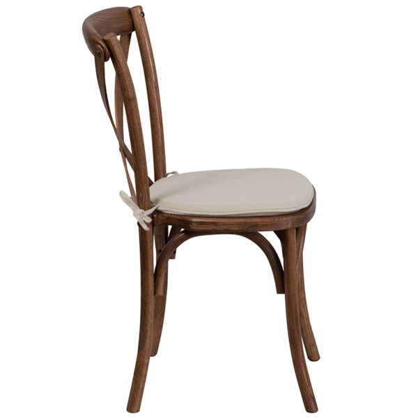 Lowest Price HERCULES Series Stackable Pecan Wood Cross Back Chair with Cushion