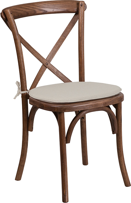 Wholesale HERCULES Series Stackable Pecan Wood Cross Back Chair with Cushion