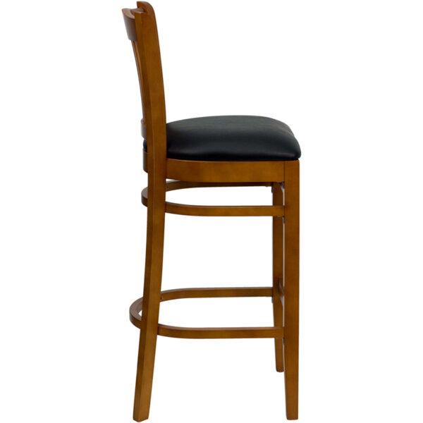 Lowest Price HERCULES Series Vertical Slat Back Cherry Wood Restaurant Barstool - Black Vinyl Seat