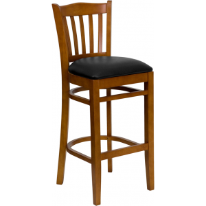 Wholesale HERCULES Series Vertical Slat Back Cherry Wood Restaurant Barstool - Black Vinyl Seat