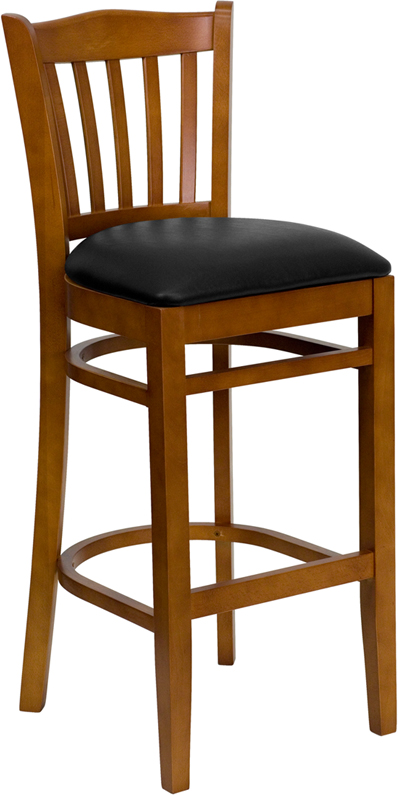 Wholesale HERCULES Series Vertical Slat Back Cherry Wood Restaurant Barstool - Black Vinyl Seat