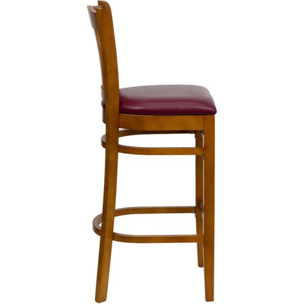 Lowest Price HERCULES Series Vertical Slat Back Cherry Wood Restaurant Barstool - Burgundy Vinyl Seat