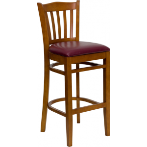 Wholesale HERCULES Series Vertical Slat Back Cherry Wood Restaurant Barstool - Burgundy Vinyl Seat