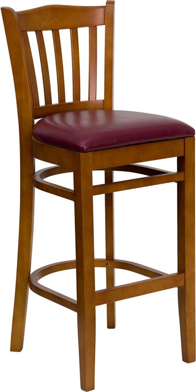 Wholesale HERCULES Series Vertical Slat Back Cherry Wood Restaurant Barstool - Burgundy Vinyl Seat