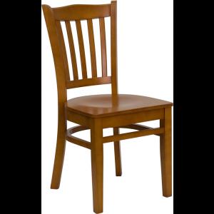 Wholesale HERCULES Series Vertical Slat Back Cherry Wood Restaurant Chair