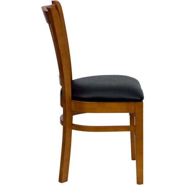 Lowest Price HERCULES Series Vertical Slat Back Cherry Wood Restaurant Chair - Black Vinyl Seat