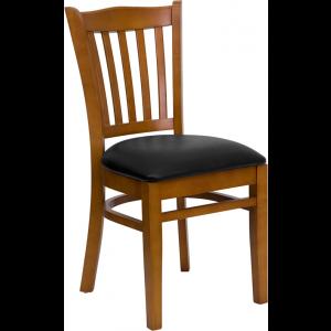 Wholesale HERCULES Series Vertical Slat Back Cherry Wood Restaurant Chair - Black Vinyl Seat