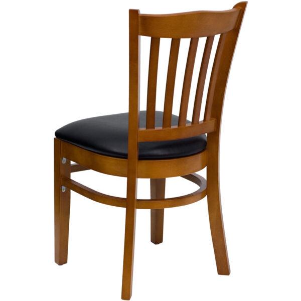 Wood Dining Chair Cherry Wood Chair-Blk Vinyl