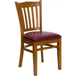 Wholesale HERCULES Series Vertical Slat Back Cherry Wood Restaurant Chair - Burgundy Vinyl Seat