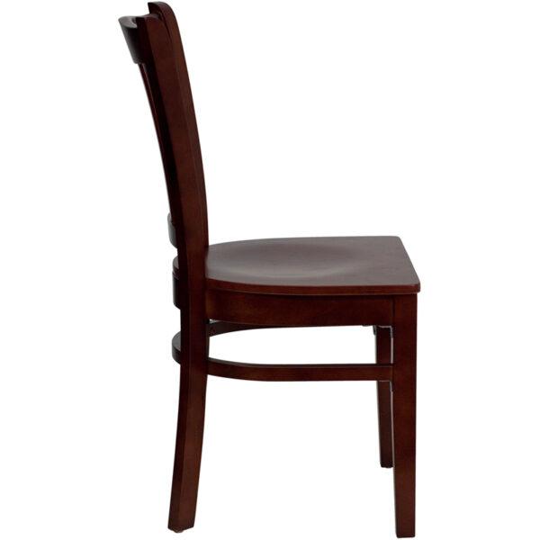 Lowest Price HERCULES Series Vertical Slat Back Mahogany Wood Restaurant Chair