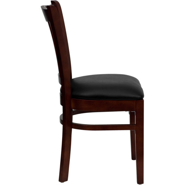 Lowest Price HERCULES Series Vertical Slat Back Mahogany Wood Restaurant Chair - Black Vinyl Seat