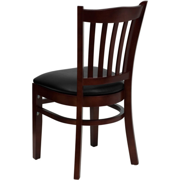 Wood Dining Chair Mahogany Wood Chair-Blk Vinyl