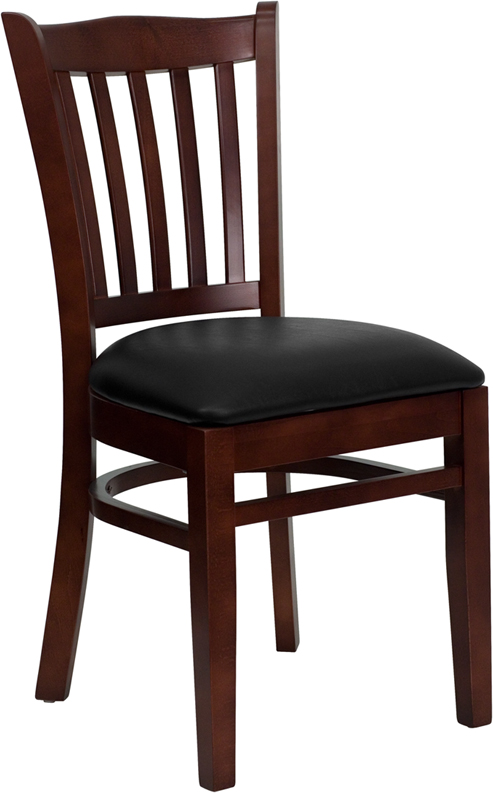 Wholesale HERCULES Series Vertical Slat Back Mahogany Wood Restaurant Chair - Black Vinyl Seat