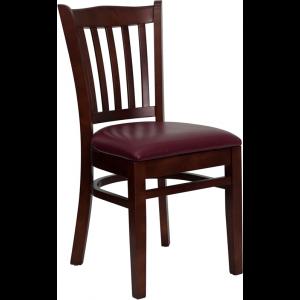 Wholesale HERCULES Series Vertical Slat Back Mahogany Wood Restaurant Chair - Burgundy Vinyl Seat