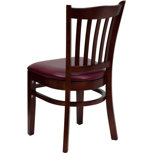 Wood Dining Chair Mahogany Wood Chair-Burg Vinyl