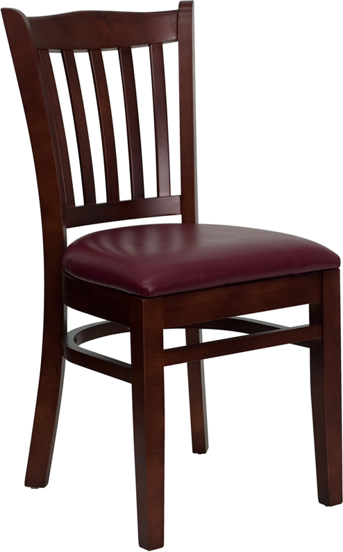 Wholesale HERCULES Series Vertical Slat Back Mahogany Wood Restaurant Chair - Burgundy Vinyl Seat