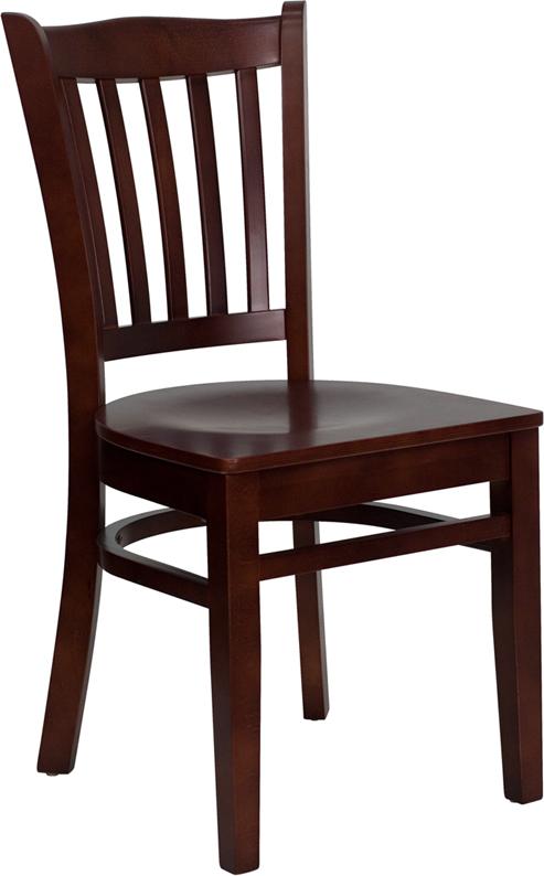 Wholesale HERCULES Series Vertical Slat Back Mahogany Wood Restaurant Chair