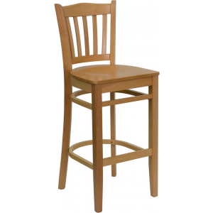 Wholesale HERCULES Series Vertical Slat Back Natural Wood Restaurant Barstool