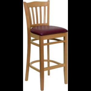 Wholesale HERCULES Series Vertical Slat Back Natural Wood Restaurant Barstool - Burgundy Vinyl Seat