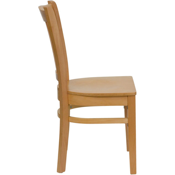 Lowest Price HERCULES Series Vertical Slat Back Natural Wood Restaurant Chair