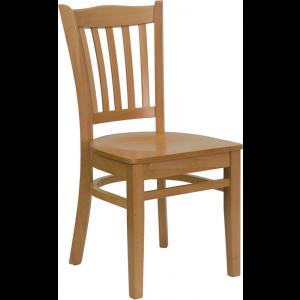 Wholesale HERCULES Series Vertical Slat Back Natural Wood Restaurant Chair