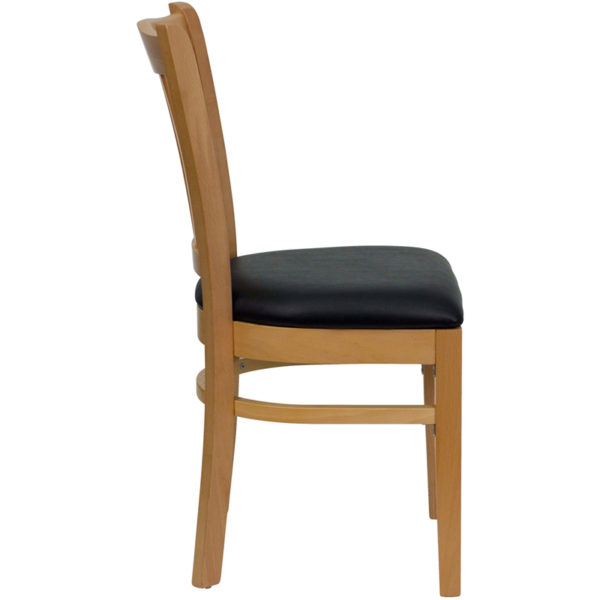 Lowest Price HERCULES Series Vertical Slat Back Natural Wood Restaurant Chair - Black Vinyl Seat