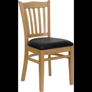 Wholesale HERCULES Series Vertical Slat Back Natural Wood Restaurant Chair - Black Vinyl Seat