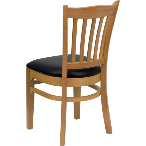 Wood Dining Chair Natural Wood Chair-Blk Vinyl