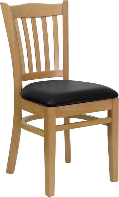 Wholesale HERCULES Series Vertical Slat Back Natural Wood Restaurant Chair - Black Vinyl Seat