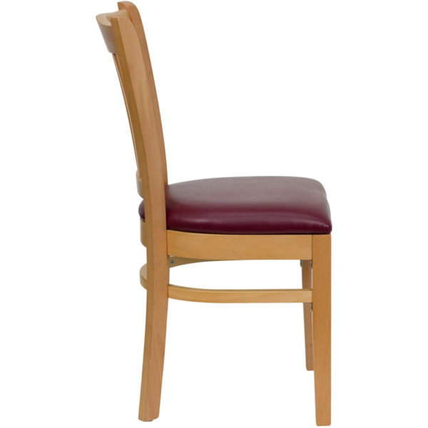 Lowest Price HERCULES Series Vertical Slat Back Natural Wood Restaurant Chair - Burgundy Vinyl Seat