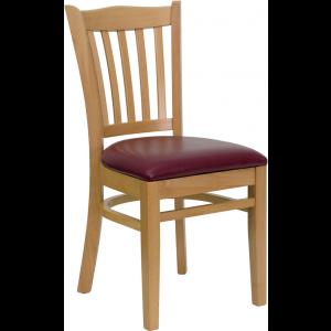 Wholesale HERCULES Series Vertical Slat Back Natural Wood Restaurant Chair - Burgundy Vinyl Seat