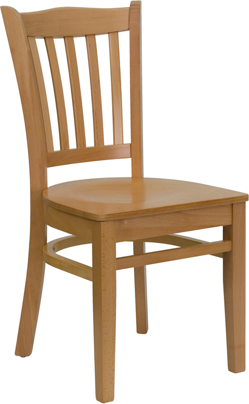 Wholesale HERCULES Series Vertical Slat Back Natural Wood Restaurant Chair
