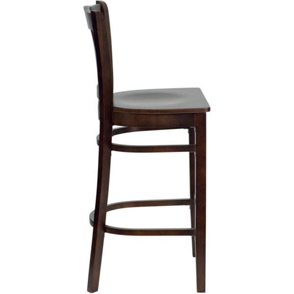 Lowest Price HERCULES Series Vertical Slat Back Walnut Wood Restaurant Barstool
