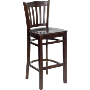 Wholesale HERCULES Series Vertical Slat Back Walnut Wood Restaurant Barstool