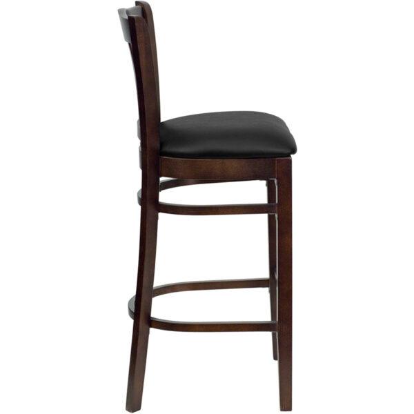 Lowest Price HERCULES Series Vertical Slat Back Walnut Wood Restaurant Barstool - Black Vinyl Seat