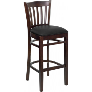 Wholesale HERCULES Series Vertical Slat Back Walnut Wood Restaurant Barstool - Black Vinyl Seat
