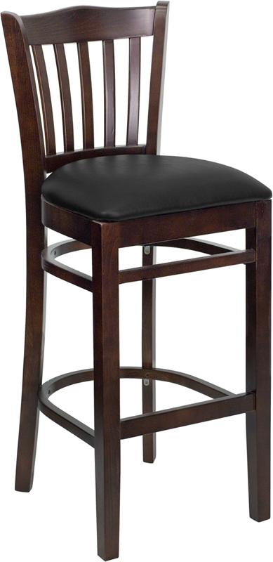 Wholesale HERCULES Series Vertical Slat Back Walnut Wood Restaurant Barstool - Black Vinyl Seat