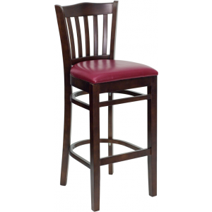 Wholesale HERCULES Series Vertical Slat Back Walnut Wood Restaurant Barstool - Burgundy Vinyl Seat