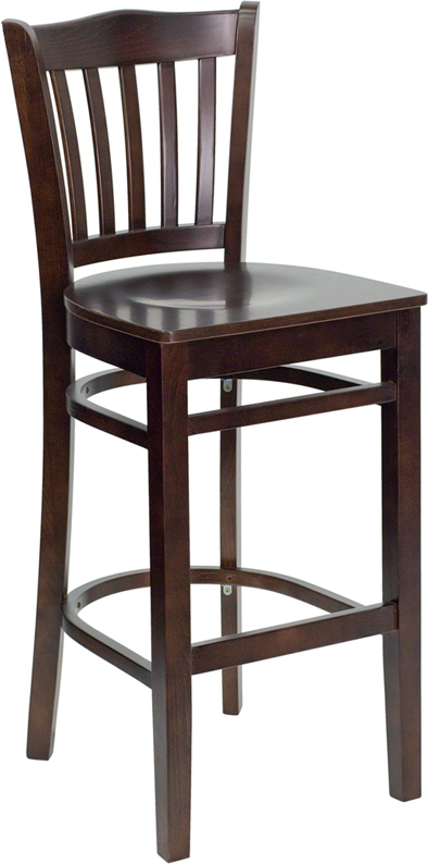 Wholesale HERCULES Series Vertical Slat Back Walnut Wood Restaurant Barstool