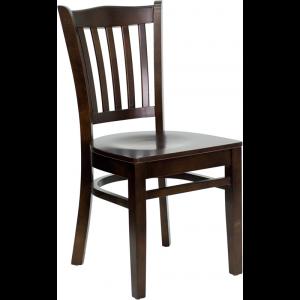 Wholesale HERCULES Series Vertical Slat Back Walnut Wood Restaurant Chair
