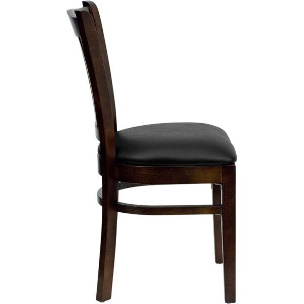 Lowest Price HERCULES Series Vertical Slat Back Walnut Wood Restaurant Chair - Black Vinyl Seat