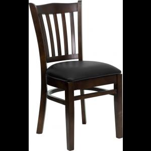 Wholesale HERCULES Series Vertical Slat Back Walnut Wood Restaurant Chair - Black Vinyl Seat