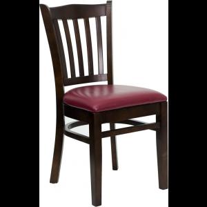 Wholesale HERCULES Series Vertical Slat Back Walnut Wood Restaurant Chair - Burgundy Vinyl Seat