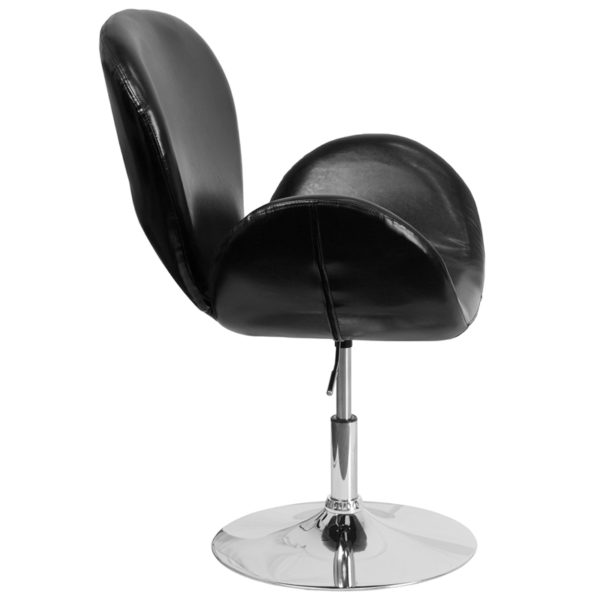 Lowest Price HERCULES Trestron Series Black Leather Side Reception Chair with Adjustable Height Seat