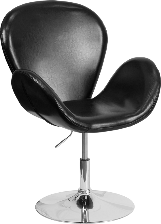 Wholesale HERCULES Trestron Series Black Leather Side Reception Chair with Adjustable Height Seat