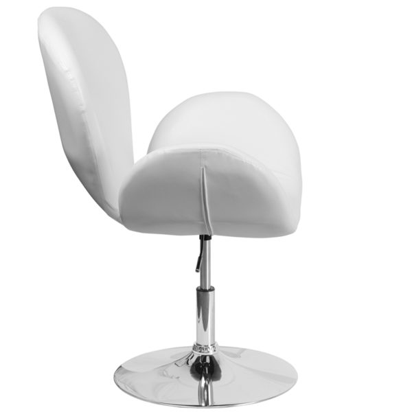 Lowest Price HERCULES Trestron Series White Leather Side Reception Chair with Adjustable Height Seat