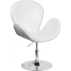 Wholesale HERCULES Trestron Series White Leather Side Reception Chair with Adjustable Height Seat